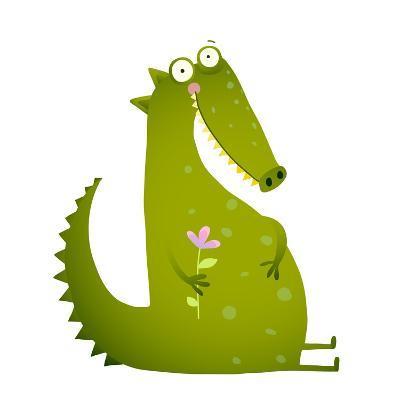 Green Cute Kids Crocodile Sitting with Flower. Happy Fun Watercolor Style Animal Greeting Card for-Popmarleo-Art Print