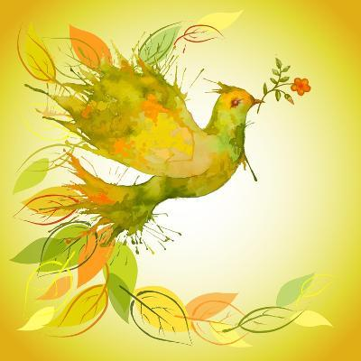 Green Dove with Flower Branch and Autumn Leaves-Scarlet Starlet-Art Print