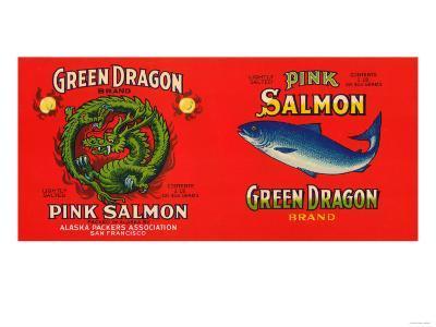 Green Dragon Brand Salmon Label - San Francisco, CA-Lantern Press-Art Print