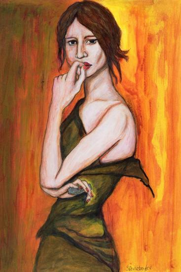 Green Dress and Mobile Phone, 2006-Stevie Taylor-Giclee Print