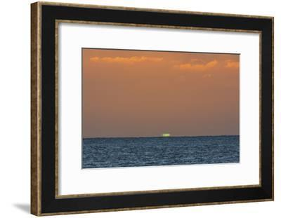 Green Flash after Sunset from Kamalo Wharf, Molokai, Hawaii-Richard Cooke III-Framed Photographic Print