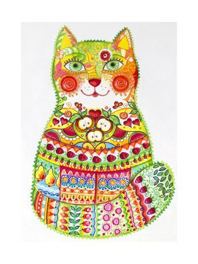 Green Folk Cat 1-Oxana Zaika-Giclee Print