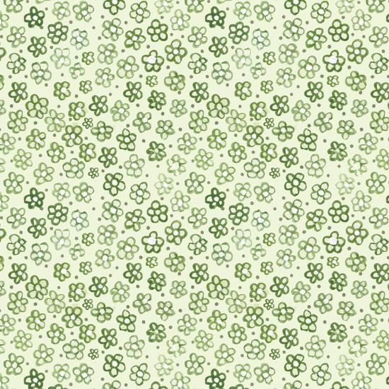Green Freehand Flowers on Mint-Effie Zafiropoulou-Giclee Print