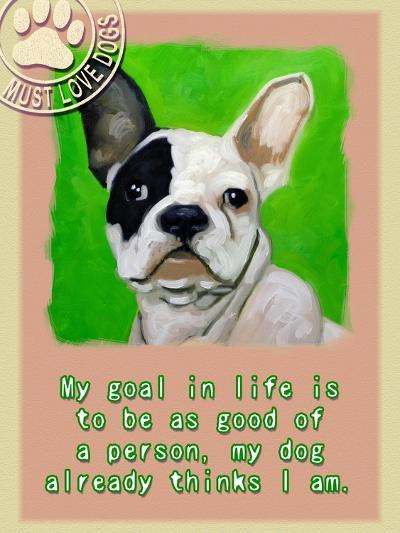 Green French Bulldog-Cathy Cute-Giclee Print