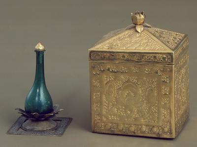 Green Glass Bottle and Reliquary Box Containing 19 Gold Pages--Giclee Print