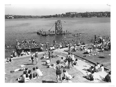 Green Lake Swimming Beach Photograph - Seattle, WA-Lantern Press-Art Print