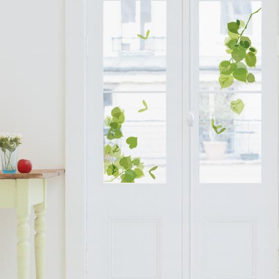 Green Leaves Window Decal Sticker--Window Decal