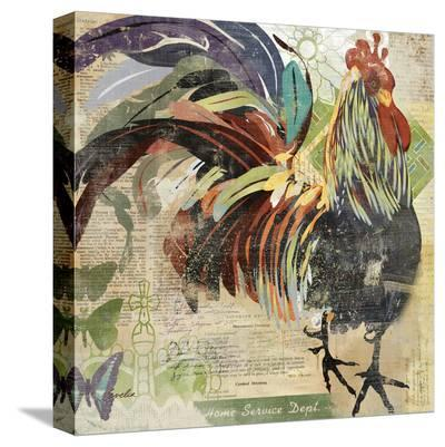 Green March Rooster--Stretched Canvas Print