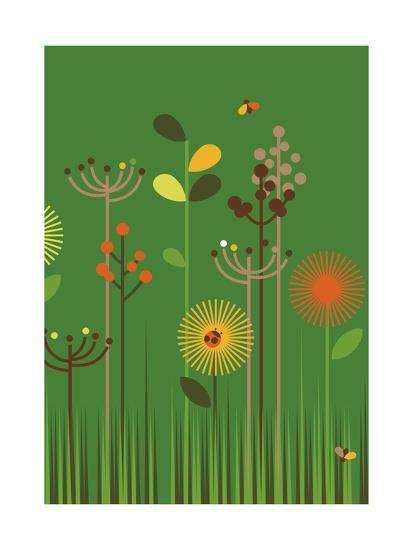 Green Meadow-Dicky Bird-Giclee Print