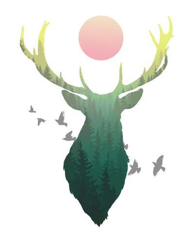 Green Ombre Forest in Stag Silhouette-Color Me Happy-Art Print