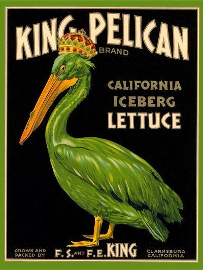Green Pelican Crate Label--Art Print