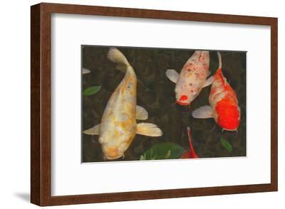 Green Rock Japanese Koi I-erichan-Framed Giclee Print