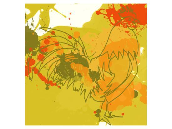 Green Rooster-Irena Orlov-Art Print