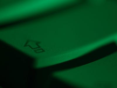 Green Tinted Return Button on a Computer Keyboard--Photographic Print