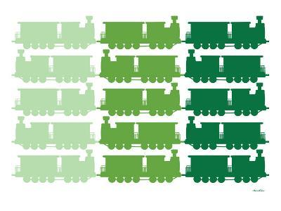 Green Trains Pattern-Avalisa-Art Print