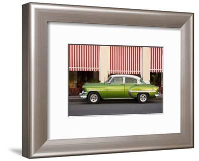 Green vintage American car parked in front of cafe, Cienfuegos, Cuba-Ed Hasler-Framed Photographic Print