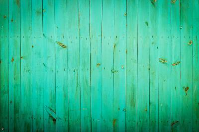 Green Wood Background. Close-Up View of Old Wood Wall Colored in Green.-Madredus-Photographic Print