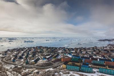 Greenland, Disko Bay, Ilulissat, Elevated Town View with Floating Ice-Walter Bibikow-Photographic Print
