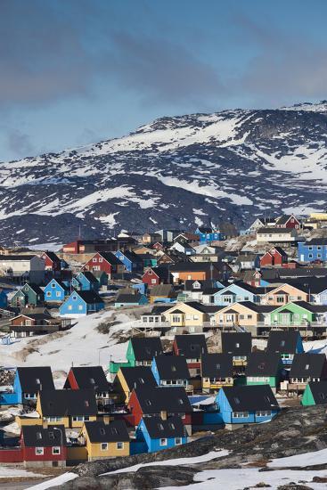 Greenland, Disko Bay, Ilulissat, Elevated Town View-Walter Bibikow-Photographic Print