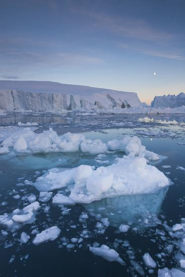 Greenland, Disko Bay, Ilulissat, Floating Ice at Sunset with Moonrise-Walter Bibikow-Photographic Print