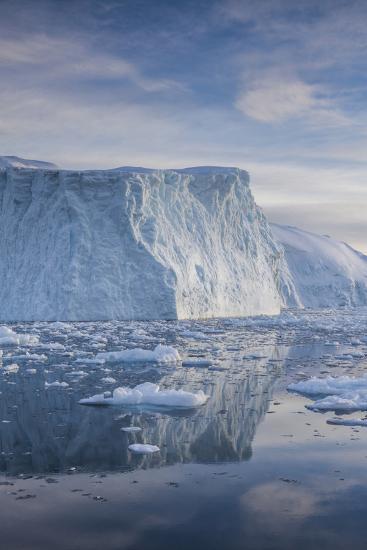 Greenland, Disko Bay, Ilulissat, Floating Ice at Sunset-Walter Bibikow-Photographic Print