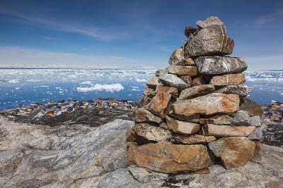 Greenland, Disko Bay, Ilulissat, Rock Cairn-Walter Bibikow-Photographic Print