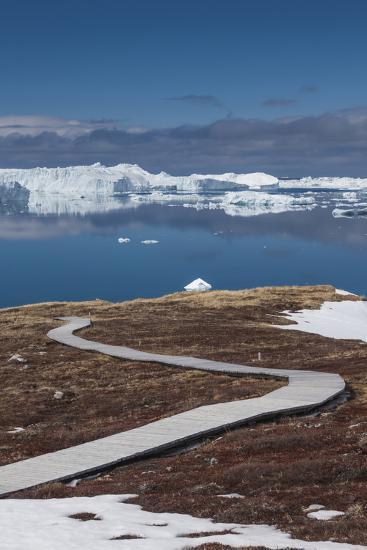 Greenland, Disko Bay, Ilulissat, Sermermiut Ruins Hike, Hiking Walkway-Walter Bibikow-Photographic Print