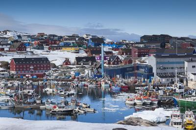 Greenland, Disko Bay, Ilulissat, Town Harbor, Elevated View-Walter Bibikow-Photographic Print