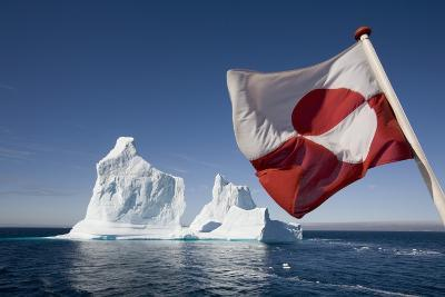 Greenland Flag on Arctic Umiaq Line Ferry-Paul Souders-Photographic Print
