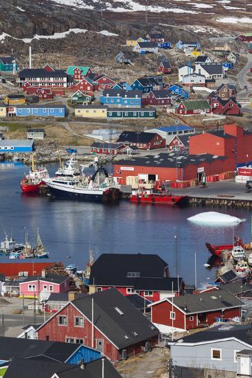 Greenland, Qaqortoq, Elevated View of Town and Harbor-Walter Bibikow-Photographic Print