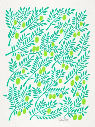 Greens Olive Branches-Cat Coquillette-Giclee Print