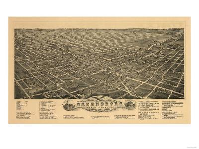 Greensboro, North Carolina - Panoramic Map-Lantern Press-Art Print
