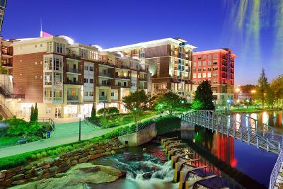 Greenville, South Carolina at Falls Park in Downtown at Night.-SeanPavonePhoto-Photographic Print
