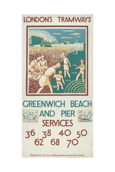 Greenwich Beach and Pier, London County Council (Lc) Tramways Poster, 1925-Morris Kestelman-Giclee Print