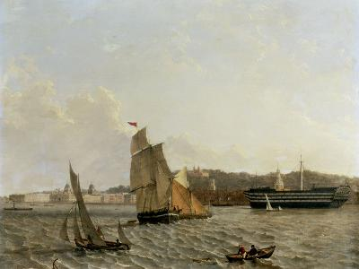 Greenwich from across the River with Hospital, the Observatory and the Hospital Ship 'Dreadnought'-John Wilson Carmichael-Giclee Print