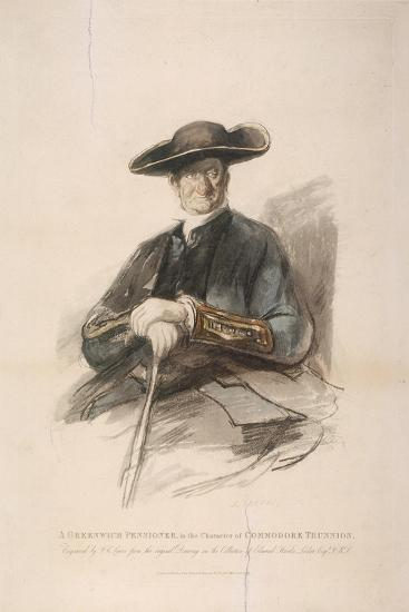 Greenwich Pensioner in the Character of Commodore Trunion, Greenwich Hospital, London, 1826-Frederick Christian Lewis-Giclee Print