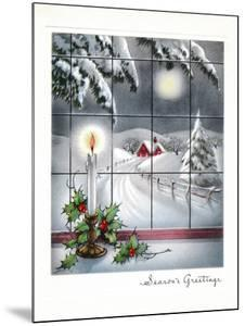 Greeting Card - Candles Season's Greetings - Winter Scene with Candle in the Window