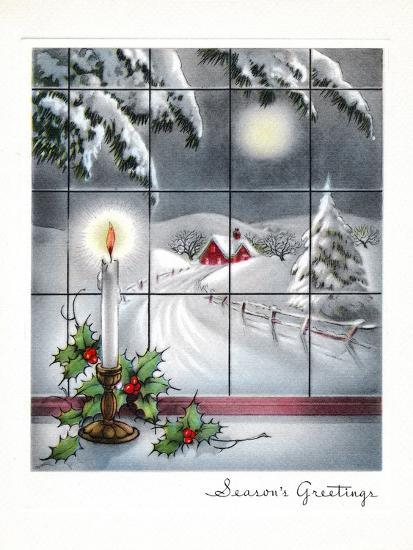 Greeting Card - Candles Season's Greetings - Winter Scene with Candle in the Window--Art Print
