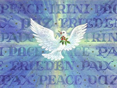 Greeting Card - Dove with the Word Peace in Different Languages--Art Print