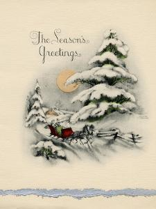 Greeting Card - The Season's Greetings, Winter Scene with Red Carriage