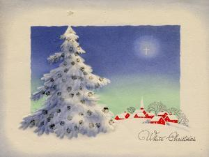 Greeting Card - White Christmas, White Tree with Red Village, National Museum of American History