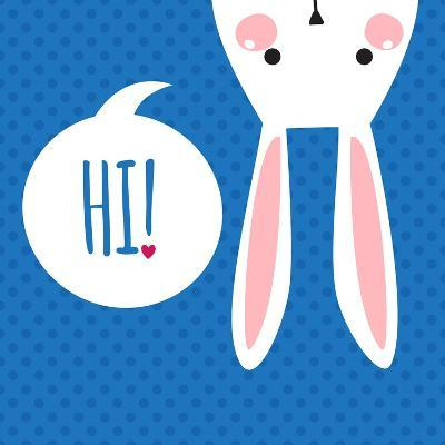 Greeting Card with with White Easter Rabbit. Funny Bunny. Easter Bunny.- Inoka-Art Print