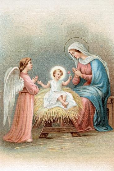 Greeting Cards, Holiday Madonna and Child with Angel--Art Print