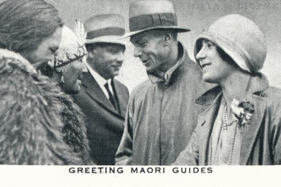 'Greeting Maori Guides', 1927 (1937)-Unknown-Photographic Print