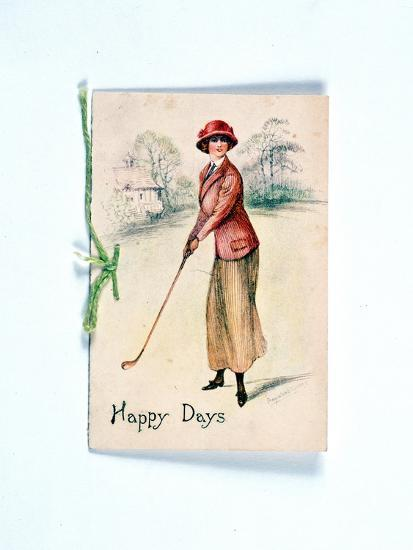 Greetings card with golfing theme, c1910-Unknown-Giclee Print