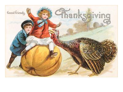 Greetings, Children with Turkey and Pumpkin--Art Print