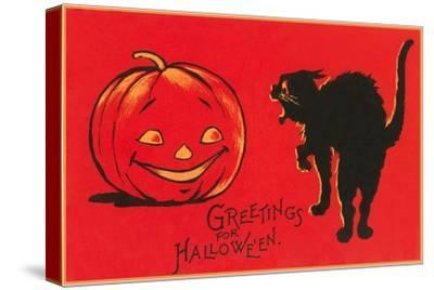 Greetings for Halloween, Black Cat and Jack O'Lantern