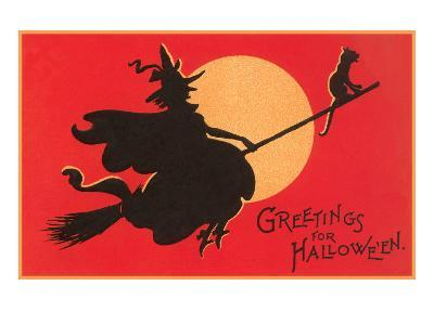 Greetings for Halloween, Witch on Broomstick--Art Print