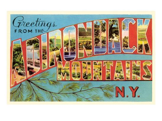 Greetings from Adirondack Mountains, New York--Art Print