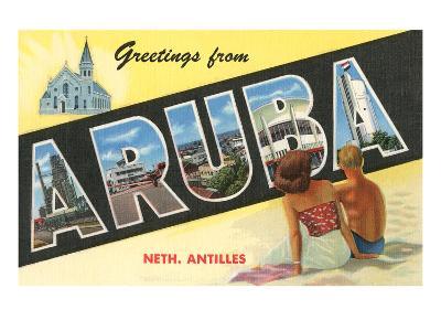 Greetings from Aruba, Netherland Antilles--Art Print